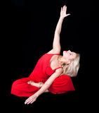 Business Woman Doing Joga At Lunch Break Royalty Free Stock Images