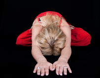 Business woman doing joga at lunch break Royalty Free Stock Photography