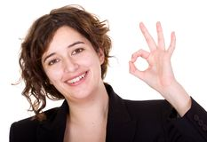 Business woman doing an ok sign Stock Image
