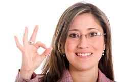 Business woman doing ok sign Stock Photo