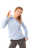 Business woman doing the ok sign smiling Stock Photo