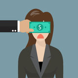 Business woman with dollar banknote taped to eyes Royalty Free Stock Photo