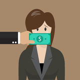 Business woman with dollar banknote taped to mouth Stock Image
