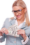 Business woman with Dollar bills Stock Photography