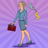 Business Woman with Dollar Sign Key on her Back. Work Automation. Pop Art illustration Royalty Free Stock Images
