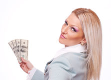 Business woman with Dollars Stock Photos
