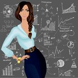 Business woman doodle background Royalty Free Stock Photo