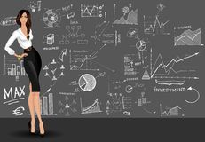Business woman doodle background royalty free illustration