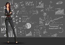 Business woman doodle background Stock Image