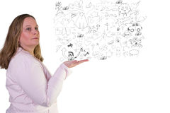 Business woman and Doodle Drawings Stock Photos