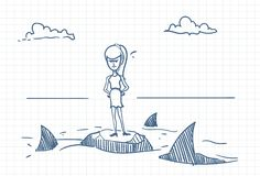 Business Woman Doodle Standing On Rock With Sharks Around Danger And Crisis Concept. Vector Illustration Royalty Free Stock Photos