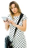 Business woman in dot`s dress using tablet stock photos