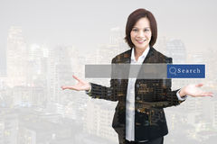 Business woman double exposure with building with searching engine graphic. S stock photos