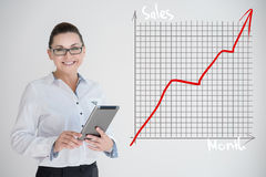 Business woman draw  graph Stock Image