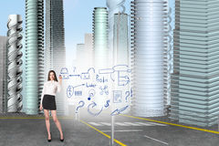 Business woman draw an icons Royalty Free Stock Images
