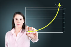 Business woman drawing achievement graph. Royalty Free Stock Image