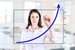 Business woman drawing achievement graph. Young business woman drawing over target achievement graph 1. Office background Stock Image
