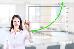 Business woman drawing achievement graph. Young business woman drawing over target achievement graph 2. Office background Stock Image