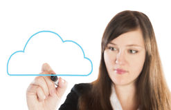 Business woman drawing blue cloud Royalty Free Stock Image