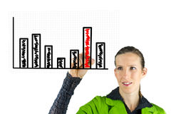 Business woman drawing business graph Royalty Free Stock Images