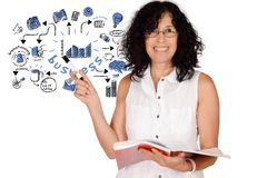 Business woman drawing business sketch stock photography