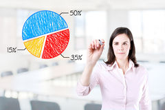 Business woman drawing a chart. Office background. Stock Photo