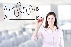 Business woman drawing a concept about the importance of finding the shortest way to move from point A to point B, or finding a si. Mple solution to a problem Stock Images