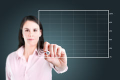 Business woman drawing on empty graph. Royalty Free Stock Images