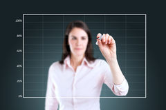Business woman drawing on empty graph. Young business woman drawing on empty graph Stock Photography