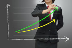 Business woman drawing graph. Business woman drawing growing green graph Royalty Free Stock Image