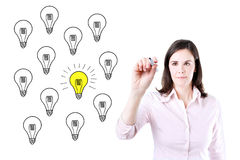 Business woman drawing a great idea concept. Royalty Free Stock Photo