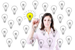 Business woman drawing a great idea concept. Stock Photography