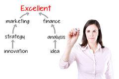 Business woman drawing a marketing plan to excellence. Royalty Free Stock Image