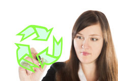 Business woman drawing recycling sign Stock Photography