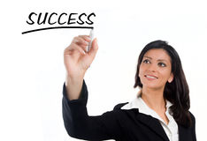 Business woman drawing on a screen royalty free stock images