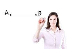 Business woman drawing a shortest way to move from point A to point B. Royalty Free Stock Images