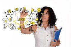 Business woman drawing business sketch royalty free stock image