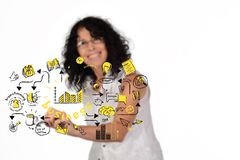 Business woman drawing business sketch royalty free stock photo