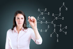 Business woman drawing Social Network Concept. Royalty Free Stock Photography