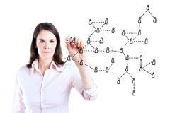Business woman drawing Social Network Concept. Royalty Free Stock Image