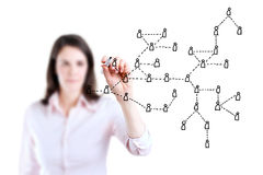 Business woman drawing Social Network Concept. Stock Images