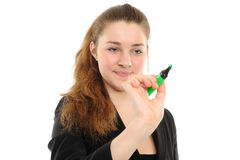 Business woman drawing something Royalty Free Stock Photo
