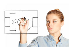 Business woman drawing a strategy game Stock Photo