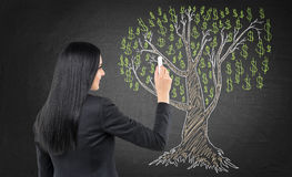 Business woman is drawing a tree on the chalk blackboard. Stock Photography