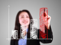Business woman drawing up bar chart Royalty Free Stock Image