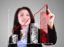 Business woman drawing up trend bar chart Royalty Free Stock Image