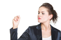 Business woman draws Royalty Free Stock Image