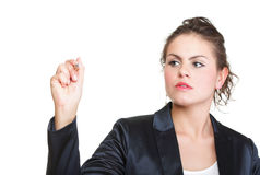 Business woman draws Royalty Free Stock Photography