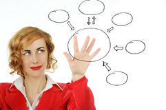 Business woman draws  on a transparent board Royalty Free Stock Image
