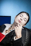 Business woman dreaming with a file in her hand Royalty Free Stock Image